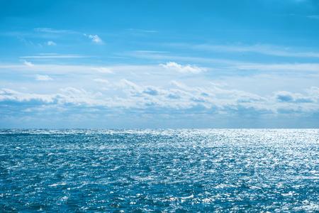 Photo for Blue sea with sky and clouds. Water natural background - Royalty Free Image