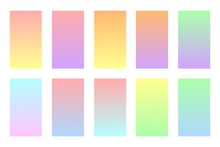 Illustration pour Pastel colors backgrounds set. Soft colors gradients. Vector illustration. Modern screen vector design for mobile app. - image libre de droit