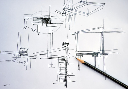 Foto de draft hand drawing foundation architecture plan with black pencil - Imagen libre de derechos