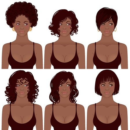 Ilustración de Vector Illustration of Black Women Faces. Great for avatars,  hair styles of African American women.  - Imagen libre de derechos