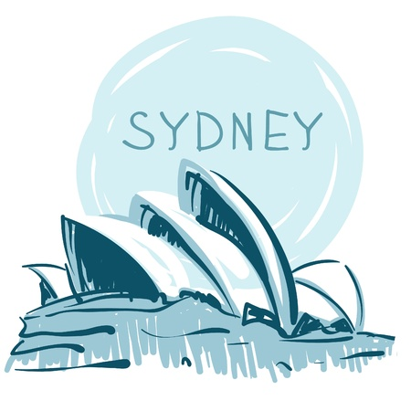 Illustration for World famous landmark series: Sydney Opera House, Sydney, Australia. - Royalty Free Image