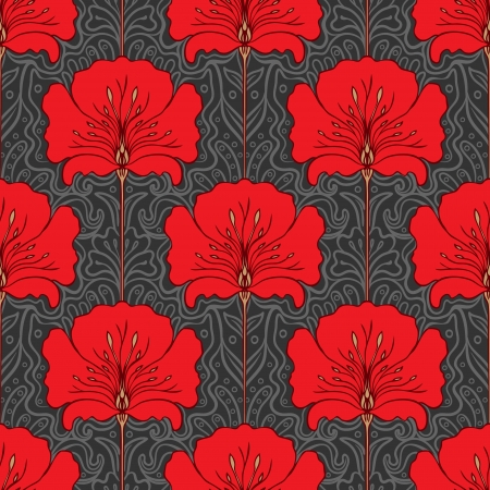 Illustration for Colorful seamless pattern with red flowers on gray background. Art nouveau style. - Royalty Free Image
