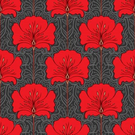 Illustration pour Colorful seamless pattern with red flowers on gray background. Art nouveau style. - image libre de droit