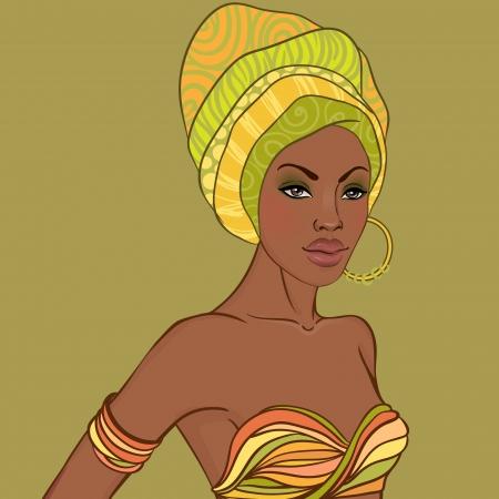 Ilustración de Portrait of beautiful African woman in turban with earring  - Imagen libre de derechos