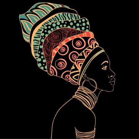 Illustration pour Portrait of beautiful African woman with earring  - image libre de droit