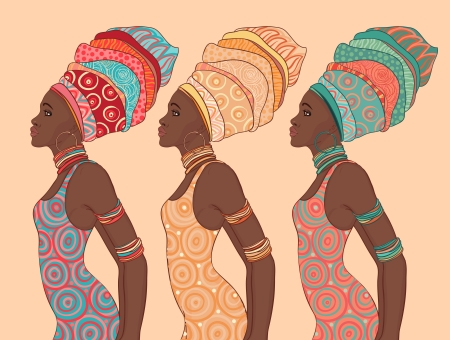 Illustration pour Pretty African American woman in traditional turban.   - image libre de droit