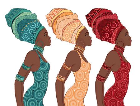 Ilustración de Pretty African American woman in traditional turban.  - Imagen libre de derechos