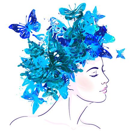 Ilustración de Beautiful white girl with watercolor butterflies on her head. Vector illustration.  - Imagen libre de derechos
