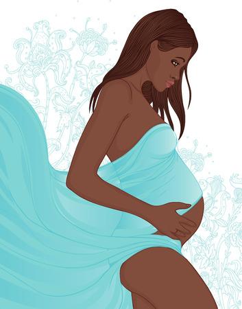 Ilustración de Portrait of a beautiful african american pregnant woman in flowers on the background  - Imagen libre de derechos