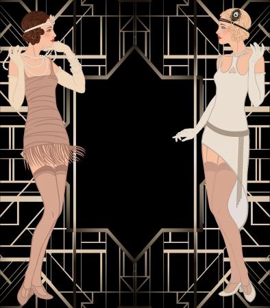 Ilustración de Flapper girl: Retro party invitation design. Vector illustration.  - Imagen libre de derechos