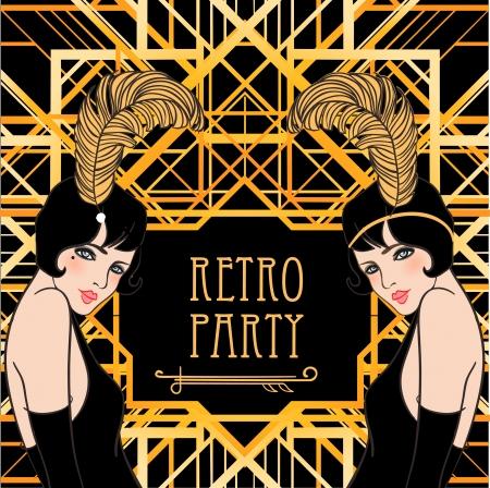 Ilustración de Flapper girl: Retro party invitation design. Vector illustration. Great Gatsby style. - Imagen libre de derechos