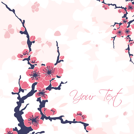 Abstract romantic vector floral background with sakura branch