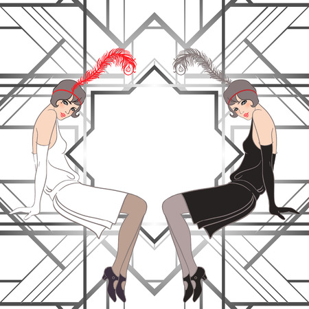 Illustration for Flapper girl: Retro party invitation design. Vector illustration. - Royalty Free Image