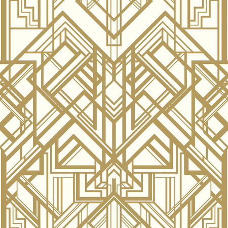 Illustration for Vintage background. Retro style seamless pattern in gold and white. 1920s - Royalty Free Image