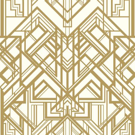 Ilustración de Vintage background. Retro style seamless pattern in gold and white. 1920s - Imagen libre de derechos