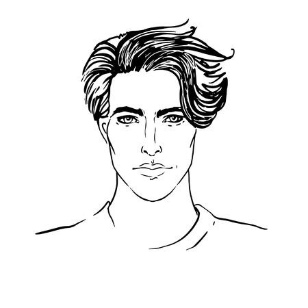 Ilustración de Hipster. Vector of a man face with beard - Imagen libre de derechos