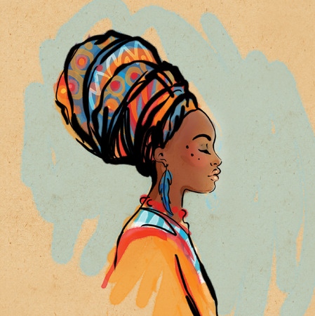 Ilustración de Portrait of beautiful African woman with earring (profile view) - Imagen libre de derechos