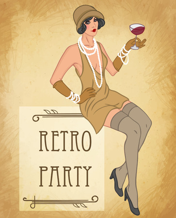 Illustration for Flapper girl: Retro party invitation design template. Vector illustration. - Royalty Free Image