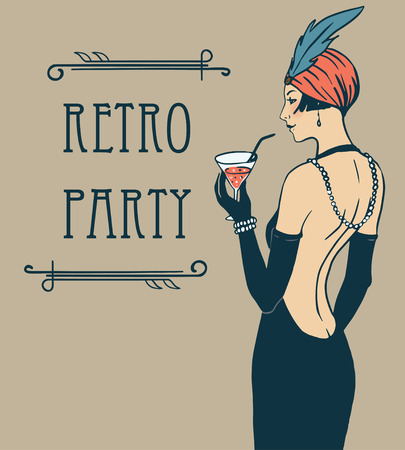 Photo for Flapper girl: Retro party invitation design template. Vector illustration. - Royalty Free Image