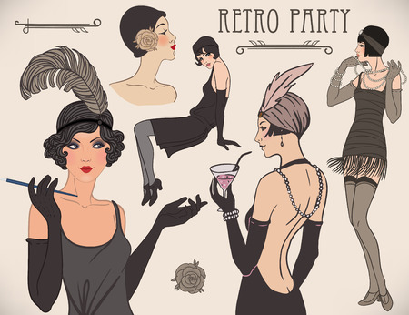 Illustration for Flapper girl set: retro women of twenties. Vector illustration. - Royalty Free Image