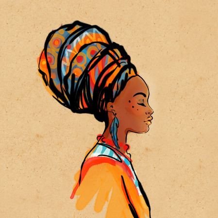 Illustration for Portrait of beautiful African woman with earring (profile view) - Royalty Free Image