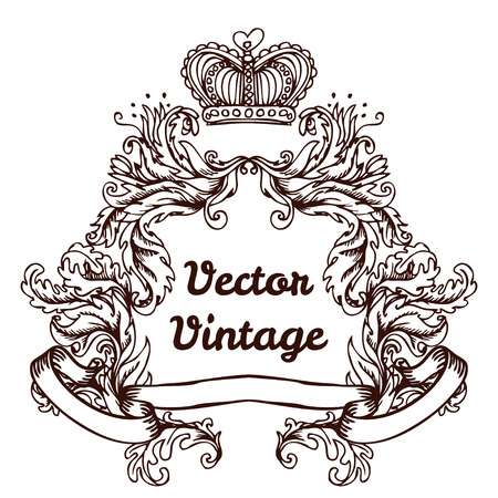 Illustration for crest with vintage style design elements, use for frame, vector format very easy to edit, individual objects - Royalty Free Image