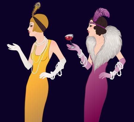 Ilustración de Flapper girl: Retro party invitation design template. Vector illustration. - Imagen libre de derechos