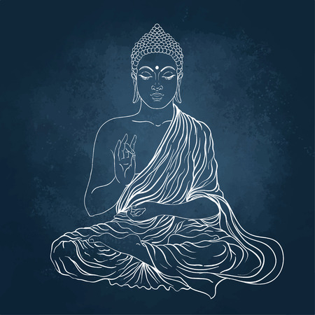 Illustration pour Sitting Buddha. Vector illustration over the blackboard background. - image libre de droit