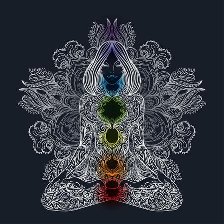 Ilustración de Woman ornate silhouette sitting in lotus pose. Meditation, aura and chakras. Vector illustration. - Imagen libre de derechos
