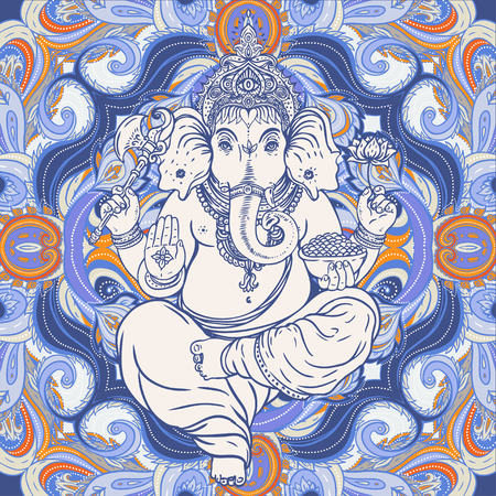 Hindu Lord Ganesha over ornate colorful mandala mural