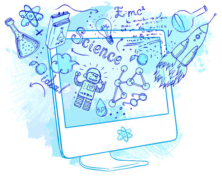 Illustration pour Back to School: e-learning technology concept with computer with science lab objects sketchy composition, vector illustration isolated on white. - image libre de droit
