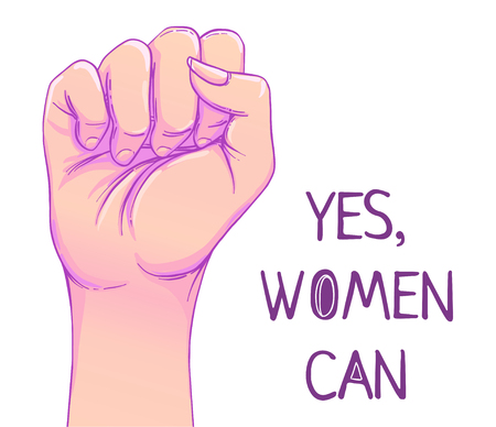 Illustration pour Yes, Women Can. Woman's hand with her fist raised up. Girl Power. Feminism concept. Realistic style vector illustration in pink  pastel goth colors isolated on white. Sticker, patch graphic design. - image libre de droit
