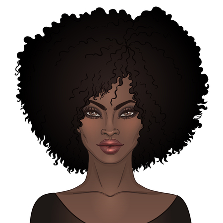 Ilustración de African American pretty girl. Vector Illustration of Black Woman with afro hairstyle  and neck . Great for avatars. - Imagen libre de derechos