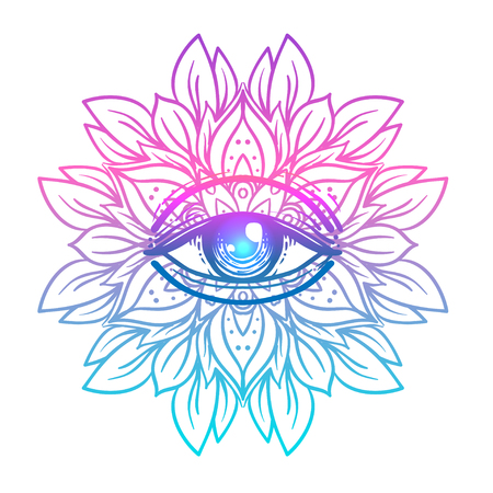 Ilustración de Sacred geometry symbol with all seeing eye in acid colors. Mystic, alchemy, occult concept. Design for indie music cover, t-shirt print, psychedelic poster, flyer. Astrology, esoteric, religion. - Imagen libre de derechos