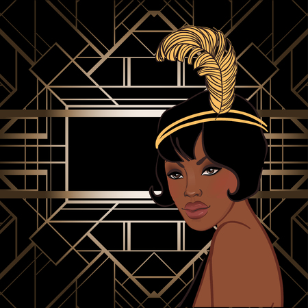 Illustration for Retro fashion: glamour girl of twenties (African American woman). Vector illustration. Flapper  20's style. Vintage party invitation design template. Fancy black lady. - Royalty Free Image