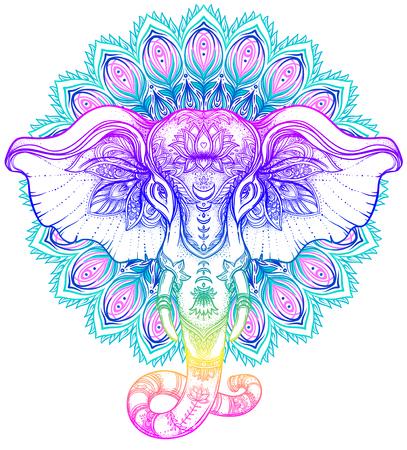 Illustration for Beautiful hand-drawn tribal style elephant over mandala. Colorful design with boho pattern, psychedelic ornaments. Ethnic poster, spiritual art, yoga. Indian god Ganesha, Indian symbol. T-shirt print. - Royalty Free Image
