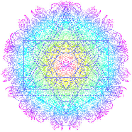 Illustration pour  Decorative mandala round pattern with sacred geometry element Metatron Cube, powerful symbol, Flower of Life. Alchemy, philosophy, spirituality. Design music cover, t-shirt, poster, flyer. Astrology.  - image libre de droit