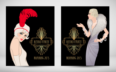 Ilustración de Art Deco vintage invitation template design with illustration of flapper girl. patterns and frames. Retro party background set (1920's style). Vector for glamour event, thematic wedding or jazz party. - Imagen libre de derechos