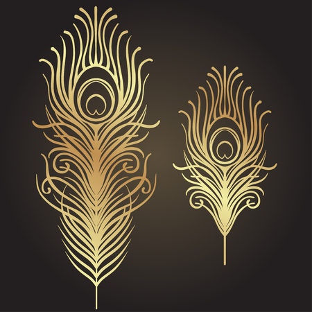 Illustration for Set of two isolated feathers. Retro hand drawn vector illustration. Art deco style. Vector. Roaring 1920's design. Jazz era inspired . 20's. Vintage Temporary tattoo design, textile, t-shirt print. - Royalty Free Image