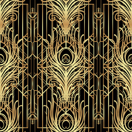 Illustration for Art deco style geometric seamless pattern in black and gold. Vector illustration. Roaring 1920's design. Jazz era inspired . 20's. Vintage Fabric, textile, wrapping paper, wallpaper. Retro hand drawn. - Royalty Free Image