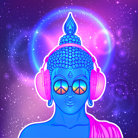 Illustration pour Peace and Love. Colorful Buddha in rainbow glasses listening to the music in headphones. Vector illustration. Hippie peace sign on sunglasses. Psychedelic concept. Buddhism, trance music. Esoteric art - image libre de droit