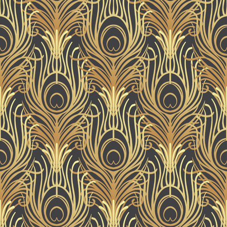 Illustration pour Art deco style geometric seamless pattern in black and gold. Vector illustration. Roaring 1920's design. Jazz era inspired . 20's. Vintage Fabric, textile, wrapping paper, wallpaper. Retro hand drawn. - image libre de droit