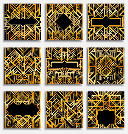 Illustration pour Art Deco vintage patterns and frames. Retro party geometric background set (1920's style). Vector illustration for glamour party, thematic wedding or textile prints. - image libre de droit