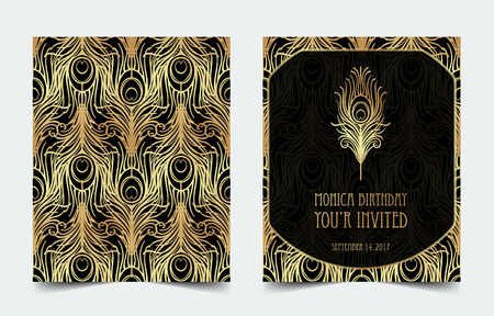 Illustration for Art Deco vintage invitation template design with illustration of flapper girl. - Royalty Free Image