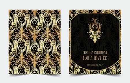 Ilustración de Art Deco vintage invitation template design with illustration of flapper girl. - Imagen libre de derechos
