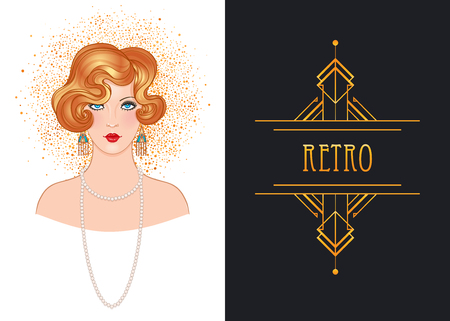 Illustrazione per Art Deco vintage invitation template design with illustration of flapper girl. patterns and frames. Retro party background set (1920's style). Vector for glamour event, thematic wedding or jazz party. - Immagini Royalty Free