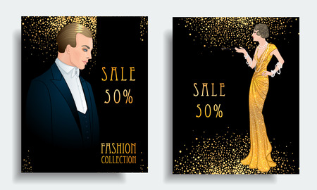 Illustration for Retro fashion. Costume party or mafia game discount banner template. Flapper girl. Vintage background set. Vector illustration for glamour party, thematic wedding. - Royalty Free Image