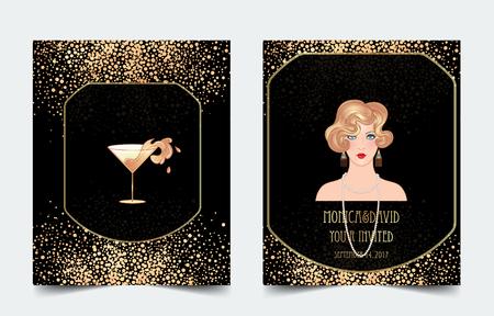 Ilustración de Female hand holding cocktail glass with  splash. Art deco (1920's style) vintage invitation template design for drink list, bar menu, glamour event, thematic wedding, jazz party flyer. Vector art. - Imagen libre de derechos