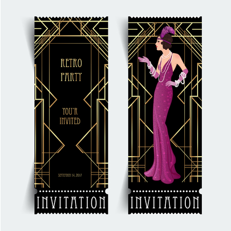 Illustration pour Art Deco vintage invitation template design with illustration of flapper girl. patterns and frames. Retro party background set (1920's style). Vector for glamour event, thematic wedding or jazz party.  - image libre de droit