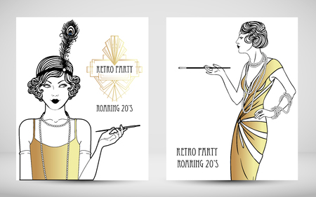 Illustration for Art Deco vintage invitation template design. patterns and frames. Retro party geometric background set. Vector illustration for glamour event, thematic wedding or jazz party. - Royalty Free Image